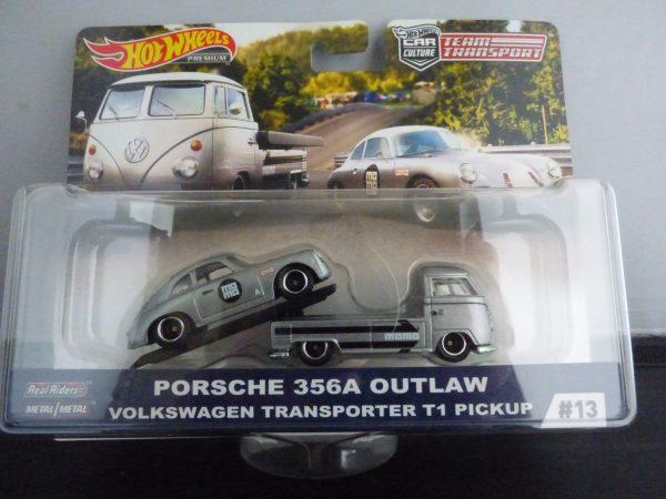 hotwheels team transport volkswagen t1 + porsche 356a outlaw