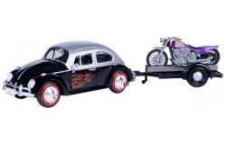 volkswagen beetle + motorbike trailer